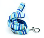 dog lead neoprene webbing blue stripes