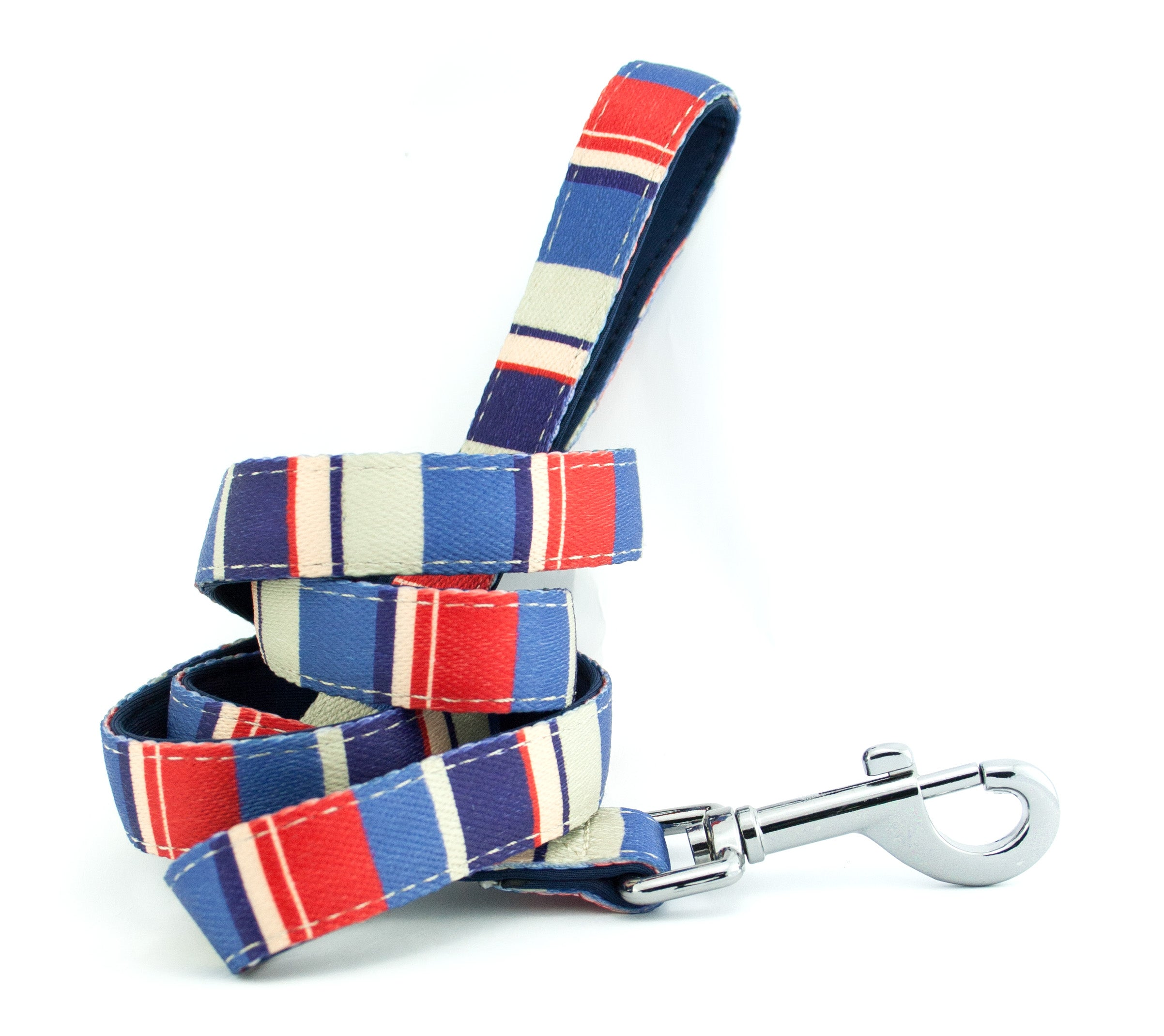 dog lead neoprene webbing red blue stripes