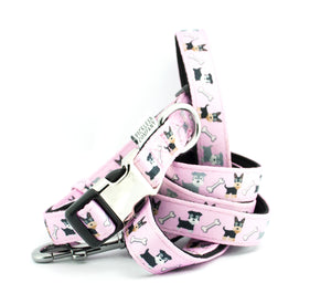 'Pink Doggies' Printed Webbing and soft Neoprene Dog Lead