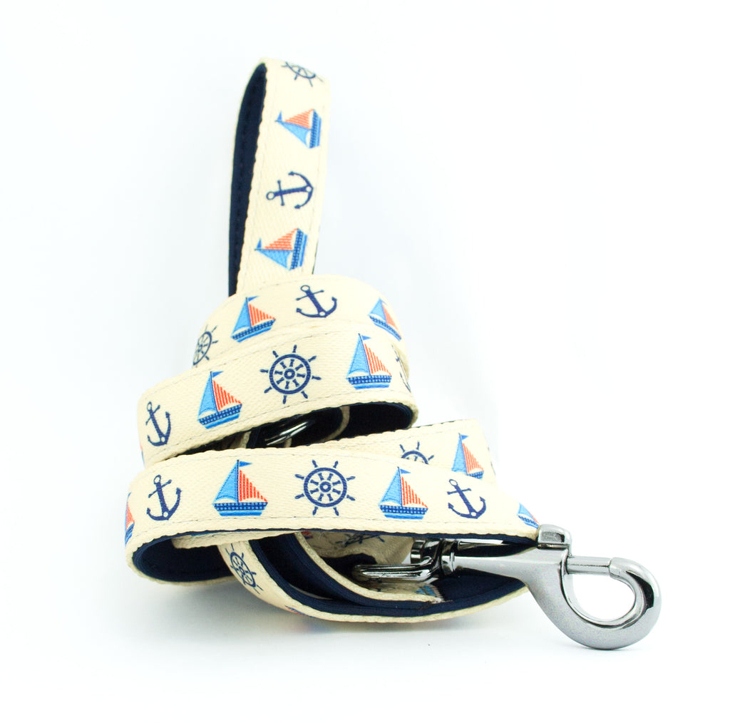 Printed Webbing and soft Neoprene Dog Lead BOATS