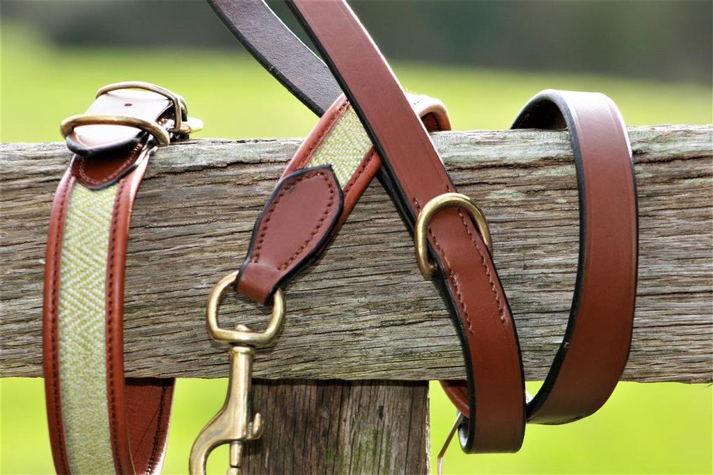 herringbone leather dog lead tan