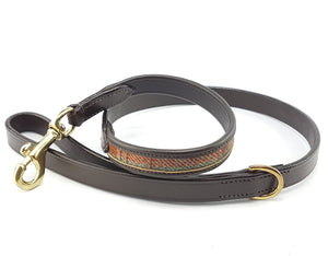 tweed and leather dog lead
