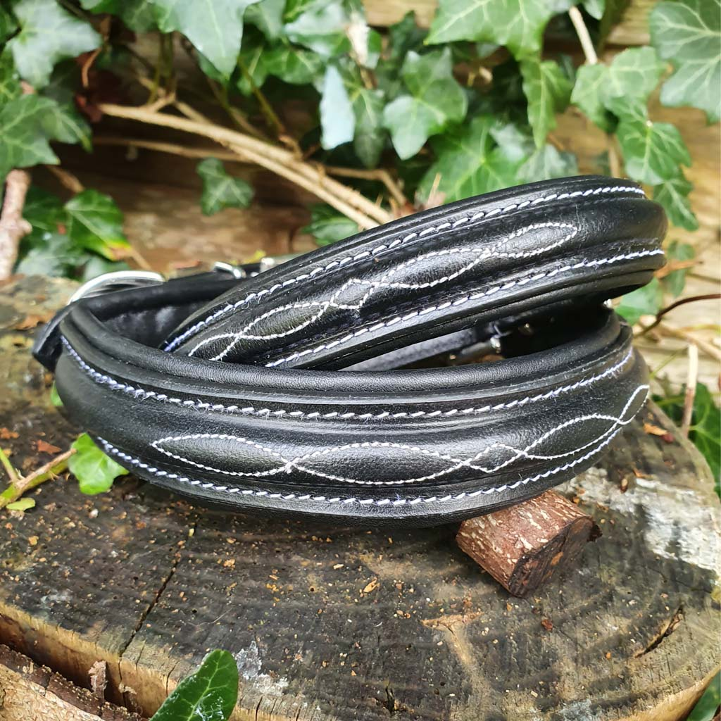 'THE BIBURY' Stitched Leather Padded Dog Collar - Black with white stitching