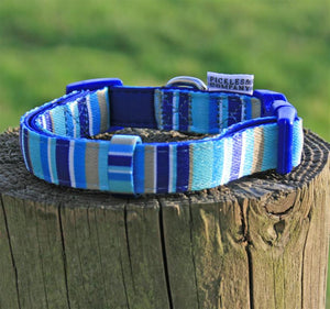 ' BLUE STRIPES' Printed Webbing and soft Neoprene Dog Collar