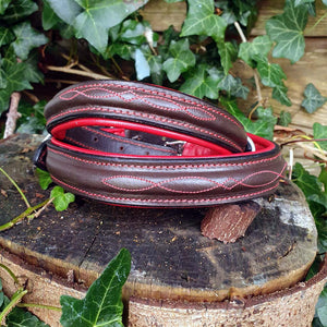 'THE BIBURY' Stitched Leather Padded Dog Collar - Dark Brown and Red