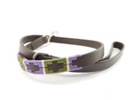 Leather and embroidery 'GAUCHO POLO' Style Dog Lead SAGE & PURPLE