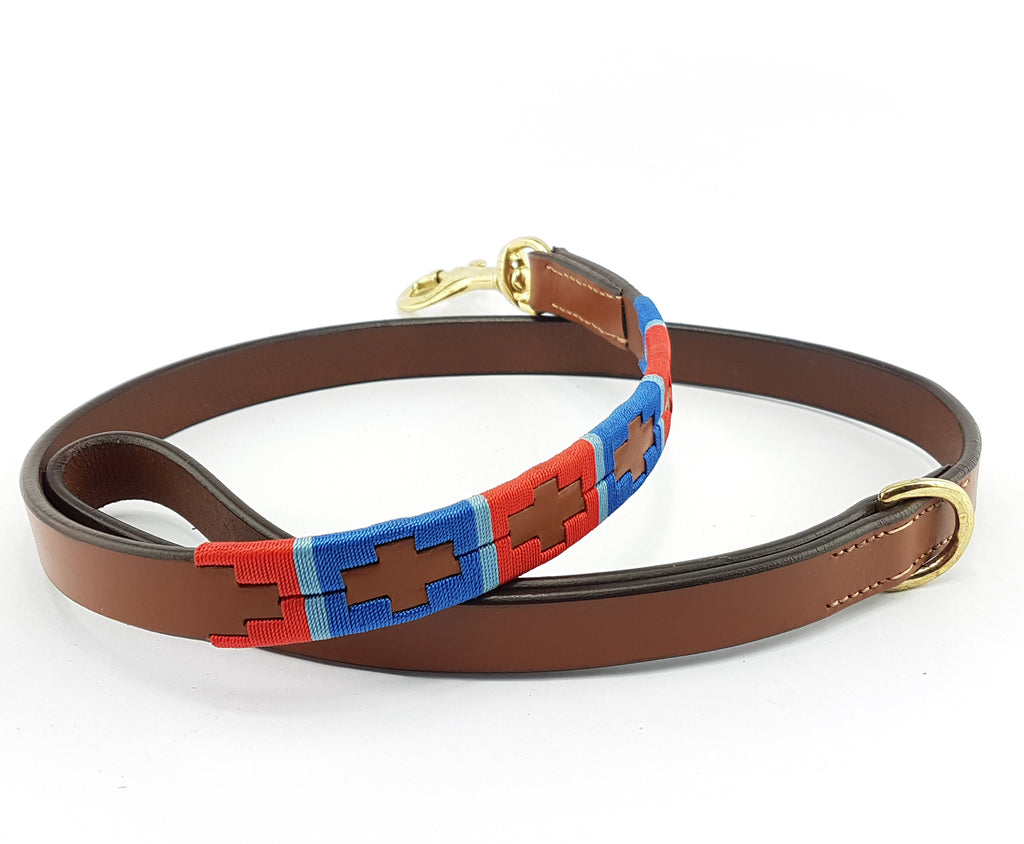 Leather and embroidery 'GAUCHO POLO' Style Dog Lead RED SKY BLUE