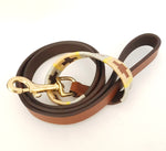 Leather and embroidery 'GAUCHO POLO' Style Dog Lead BEIGE OCHRE