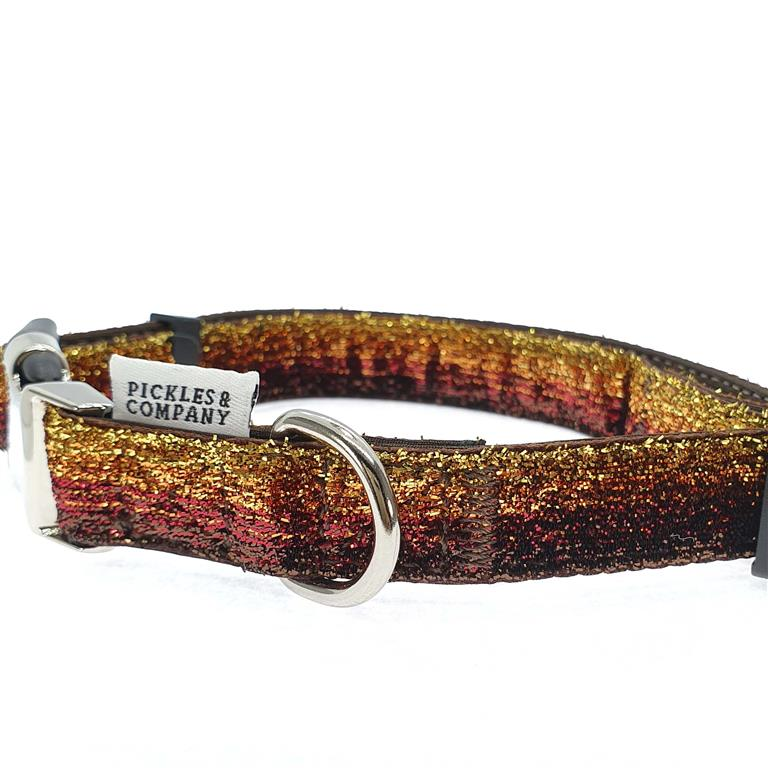 dog collar velvet gold red brown sparkle