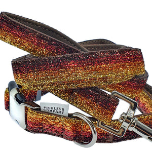 dog collar lead velvet gold red brown sparkle