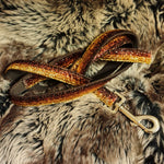 dog lead velvet gold red brown sparkle