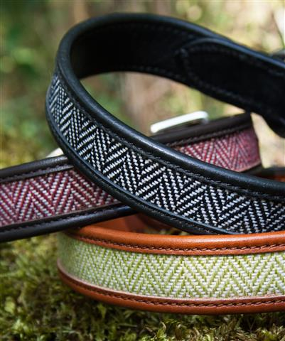 herringbone leather dog collar