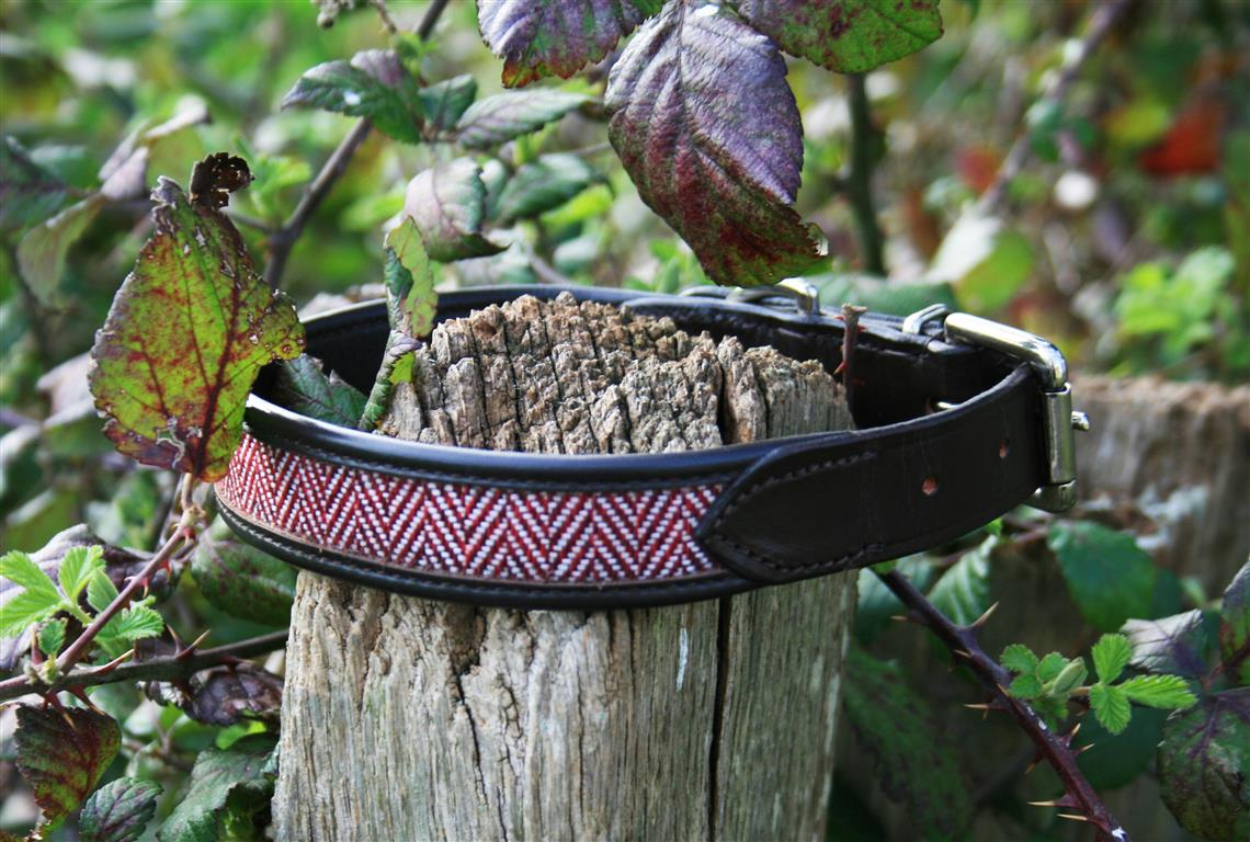 herringbone tweed dog lead brown