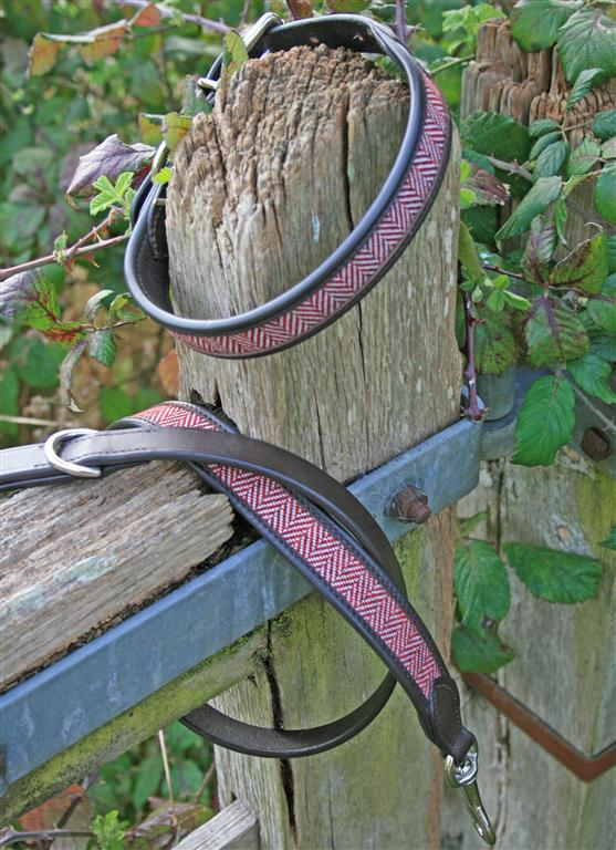 Herringbone & Leather Dog Collar RED & WHITE