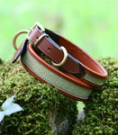 herringbone leather dog collar tan
