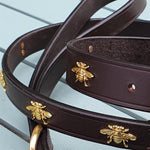 'The Bumble' Dark Brown Leather 'Bee' rivets Dog Lead.