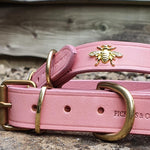 'The Bumble' Golden Bees Pink Leather Dog Collar