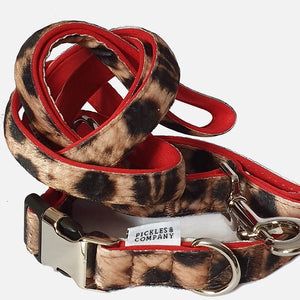 LEOPARD PRINT VELOUR DOG COLLAR