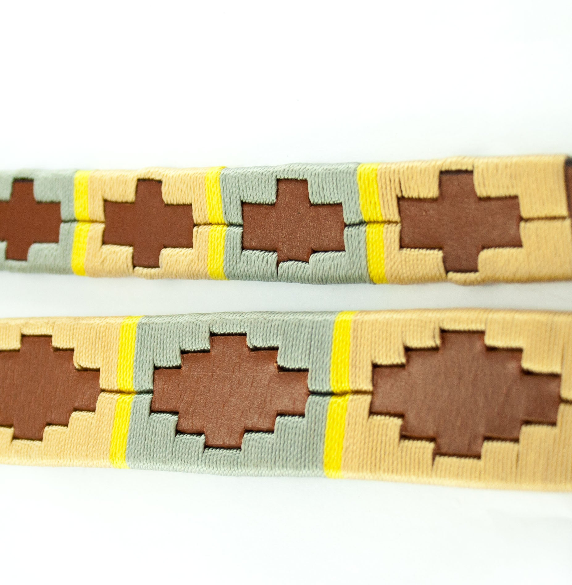 Leather 'GAUCHO-POLO' Style Dog Collar Beige & Ochre