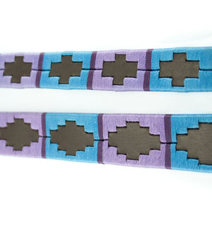 Leather and embroidery 'GAUCHO POLO' Style Dog Lead TURQUOISE PURPLE