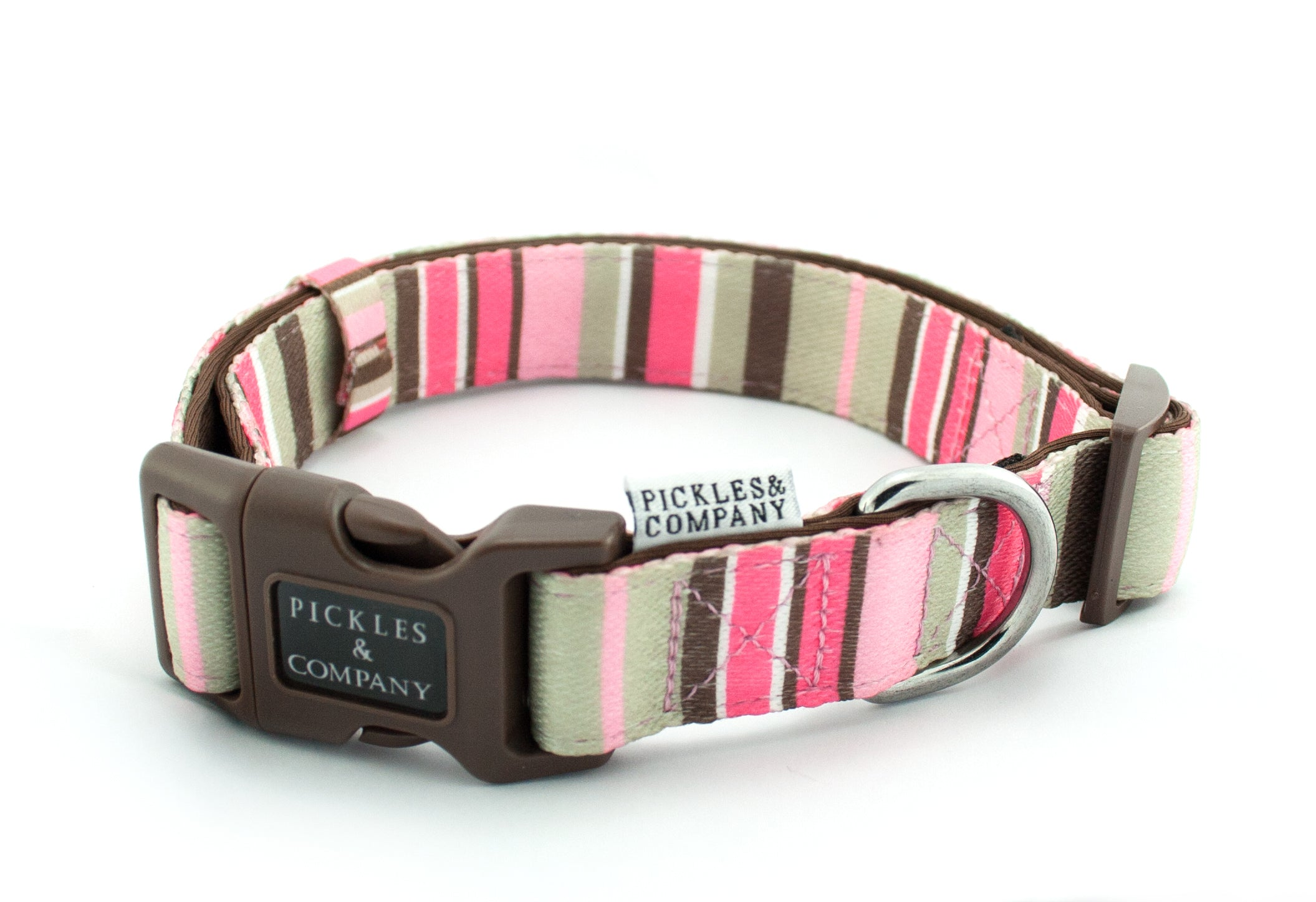 dog collar neoprene webbing pink stripes
