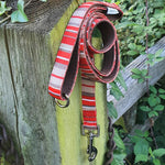 'RED STRIPES' Printed Webbing and soft Neoprene Dog Lead