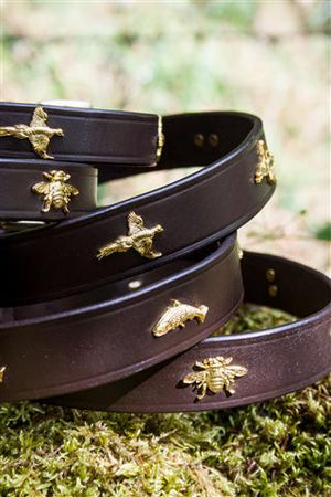 Golden Bees & Leather Dog Collar