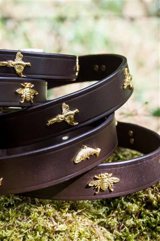 Pheasants & Leather Dog Collar