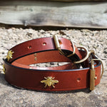 'The Bumble' Golden Bees Dark Tan Leather Dog Collar