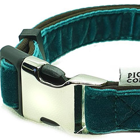 dog collar velvet teal