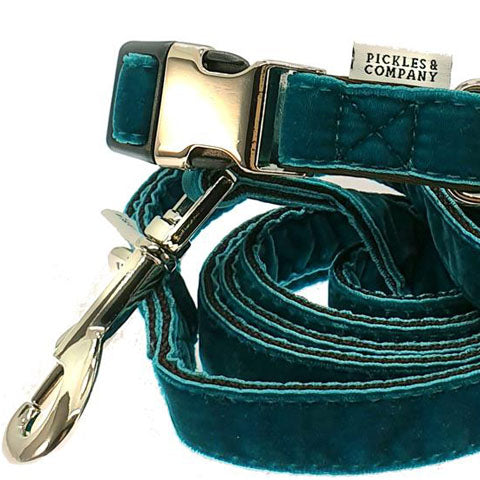 dog lead velvet teal blue