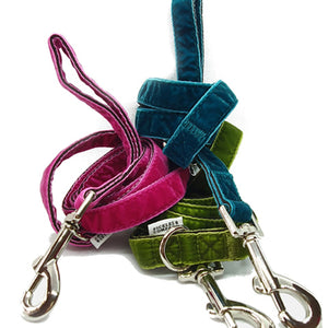 dog lead velvet pink green teal