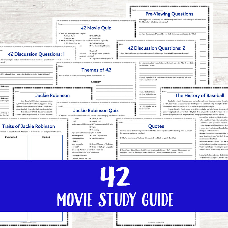 42: The Jackie Robinson Story Movie Study  <h5><b>Grades:</b> 6+</h5>