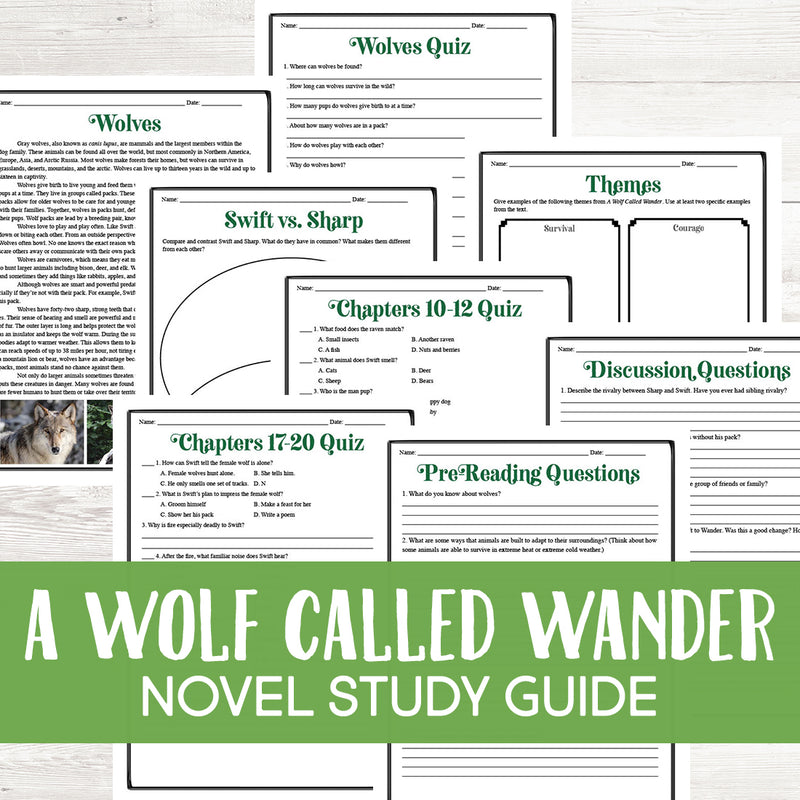 A Wolf Called Wander Novel Study
