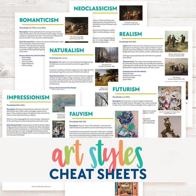 Art Styles Cheat Sheets