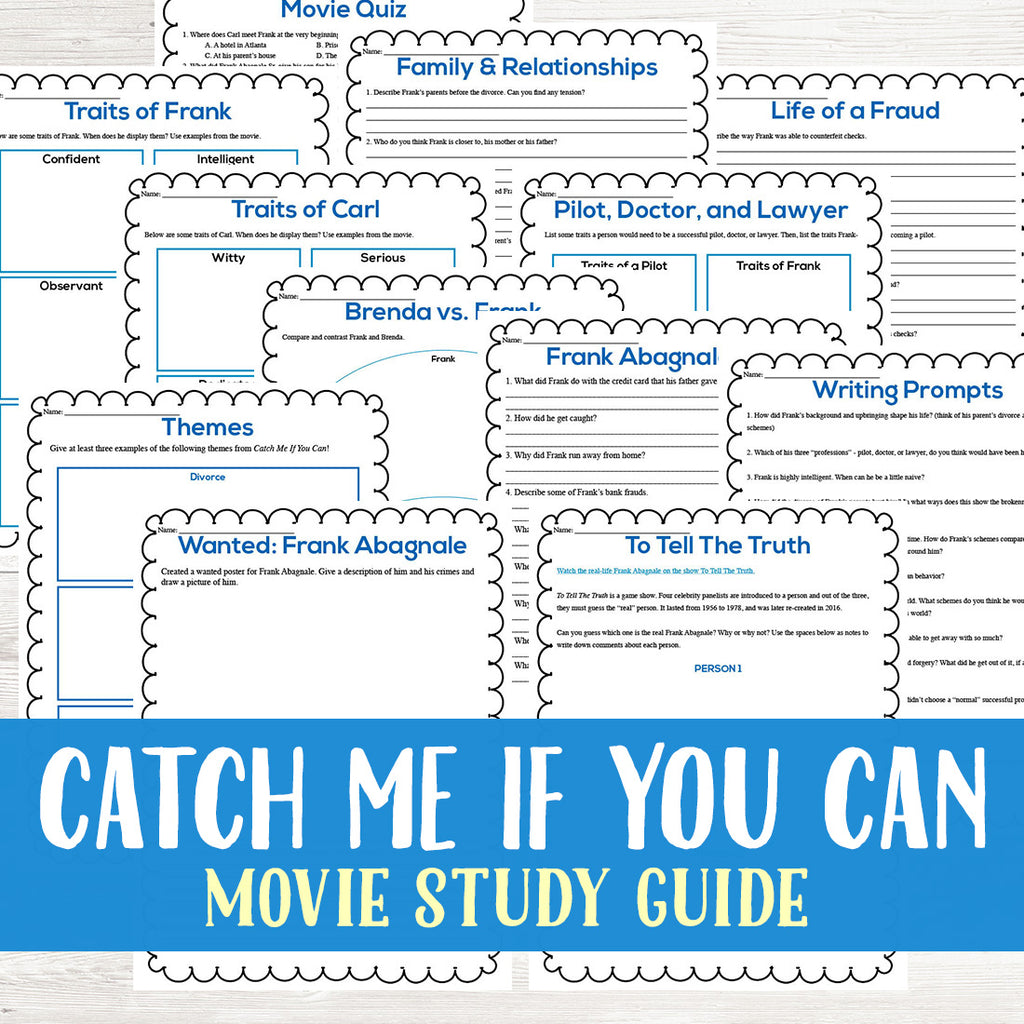 Catch Me If You Can Movie Study  <h5><b>Grades:</b> 8-10 </h5>