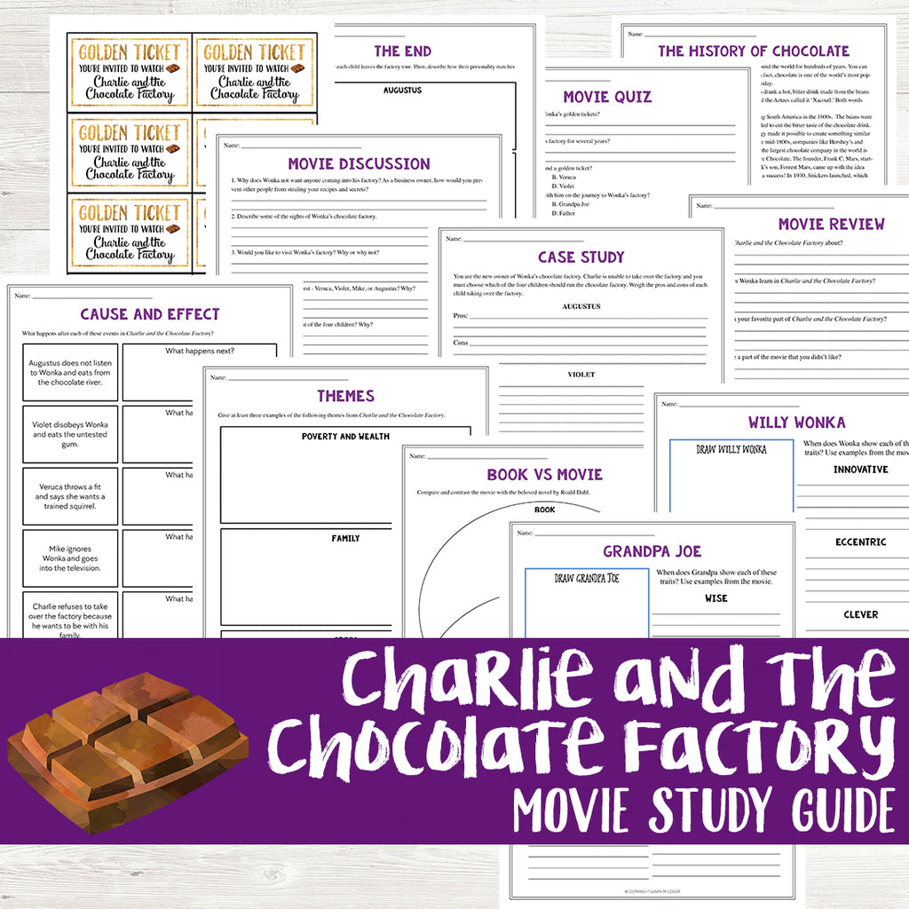 Charlie and the Chocolate Factory Movie Study <h5><b>Grades:</b> 5-7 </h5>