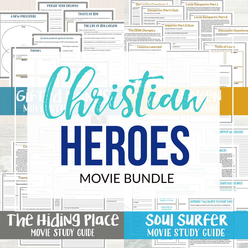 Christian Heroes Movie Night Bundle  <h5><b>Grades:</b> 6-8 </h5>