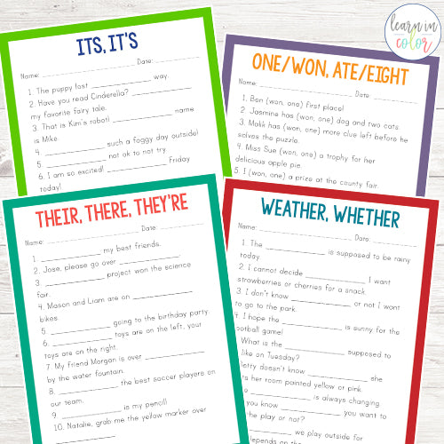 Common Homophones Worksheets - Learn in Color