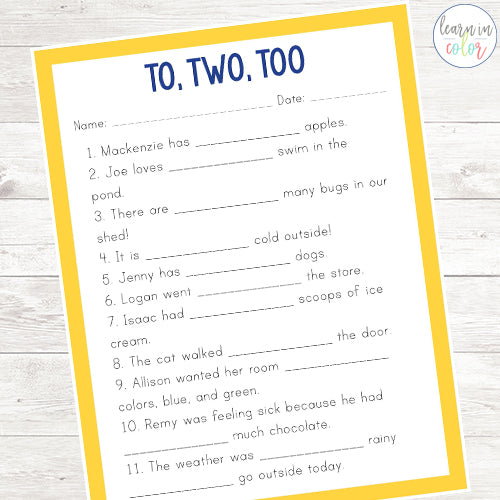 Common Homophones Worksheets
