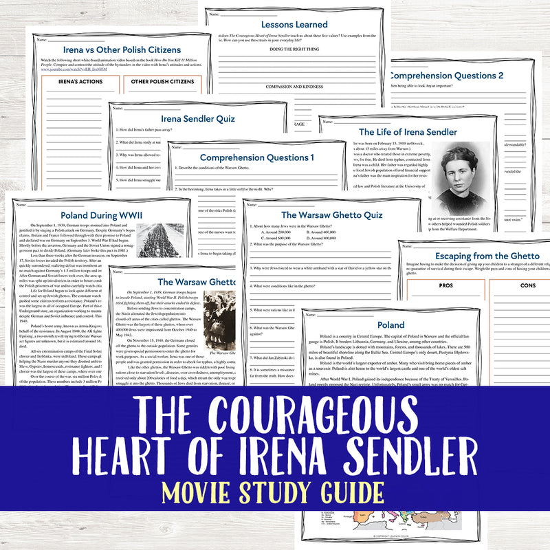 The Courageous Heart of Irena Sendler Movie Study <h5><b>Grades:</b> 6-8 </h5>