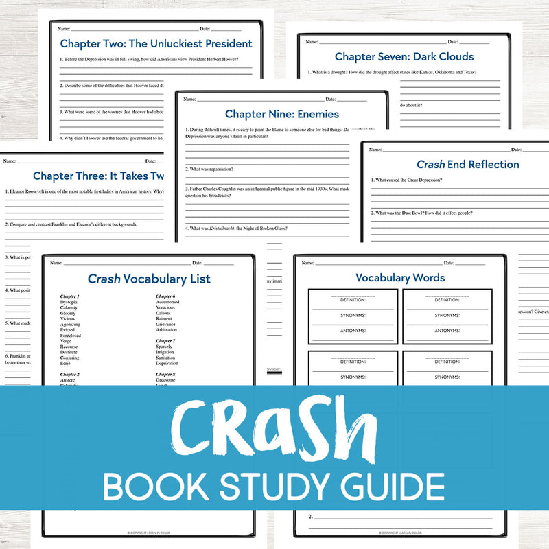 Crash by Marc Favreau Book Study  <h5><b>Grades:</b> 5-8 </h5>
