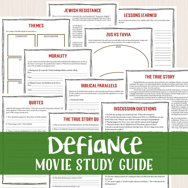 Defiance Movie Study  <h5><b>Grades:</b> 9-12 </h5>