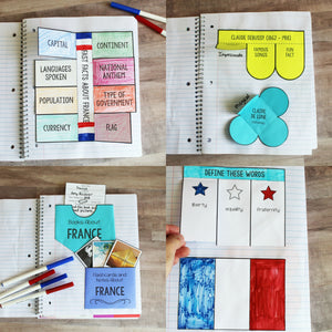 France Interactive Notebook <h5><b>Grades:</b> 2-5 </h5>