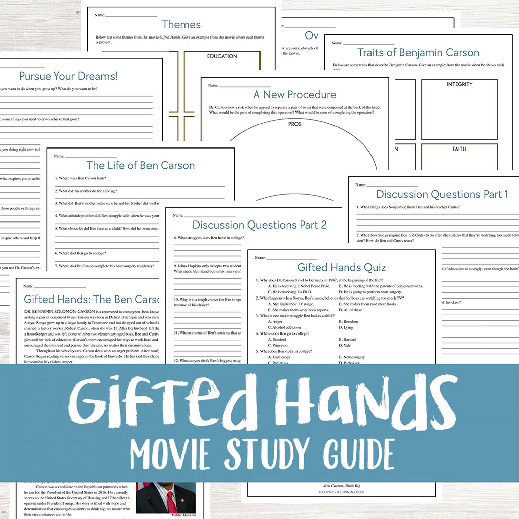 Gifted Hands Movie Study  <h5><b>Grades:</b> 5-7 </h5>