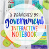 3 Branches of Government Interactive Notebook + Cheat Sheets