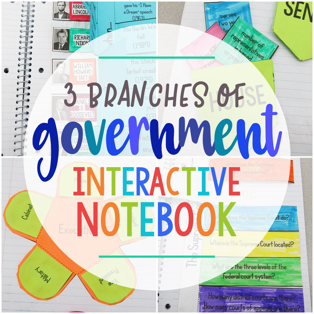 3 Branches of Government Interactive Notebook - Learn in Color