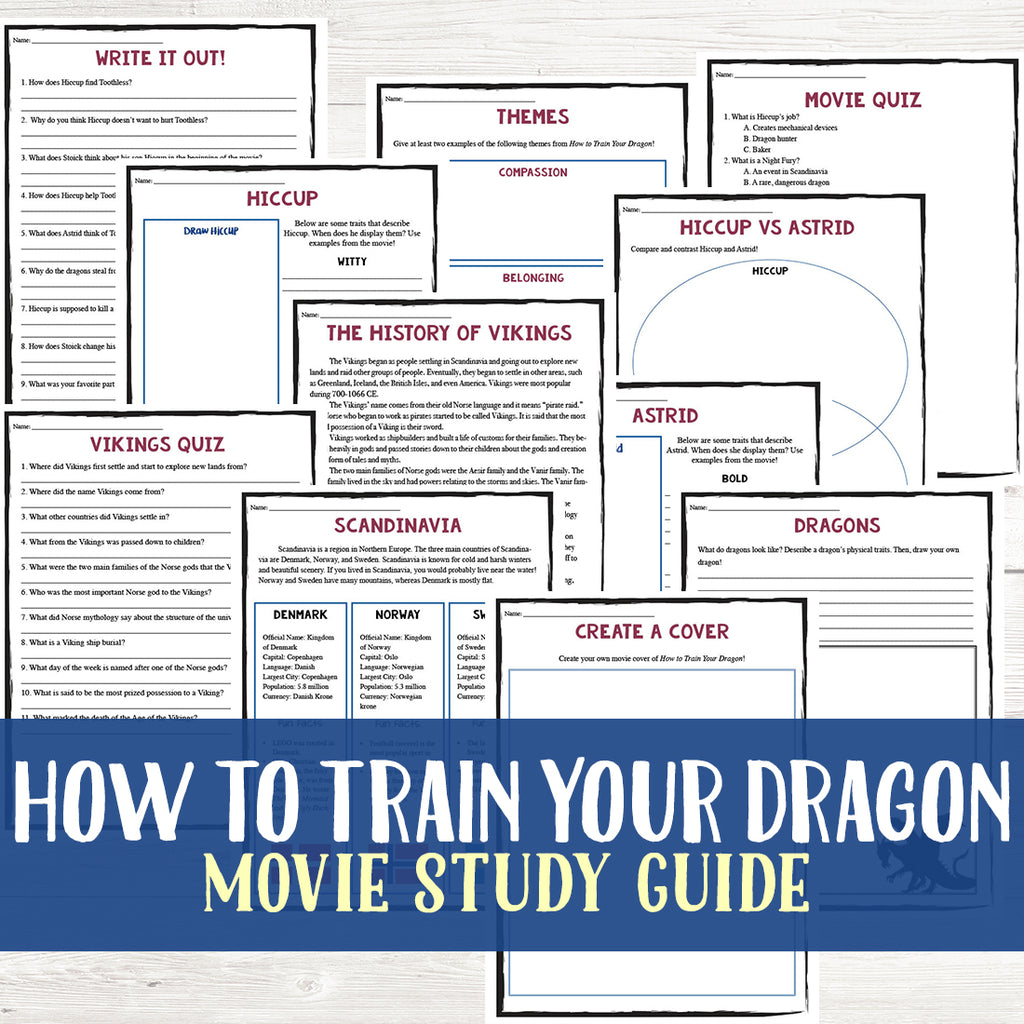 How to Train Your Dragon Movie Study  <h5><b>Grades:</b> 3-5 </h5>