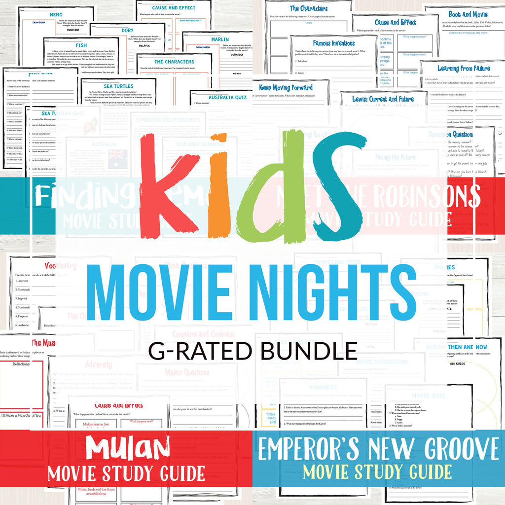 Kids Movie Night Bundle (G Rated)  <h5><b>Grades:</b> 4-6 </h5>