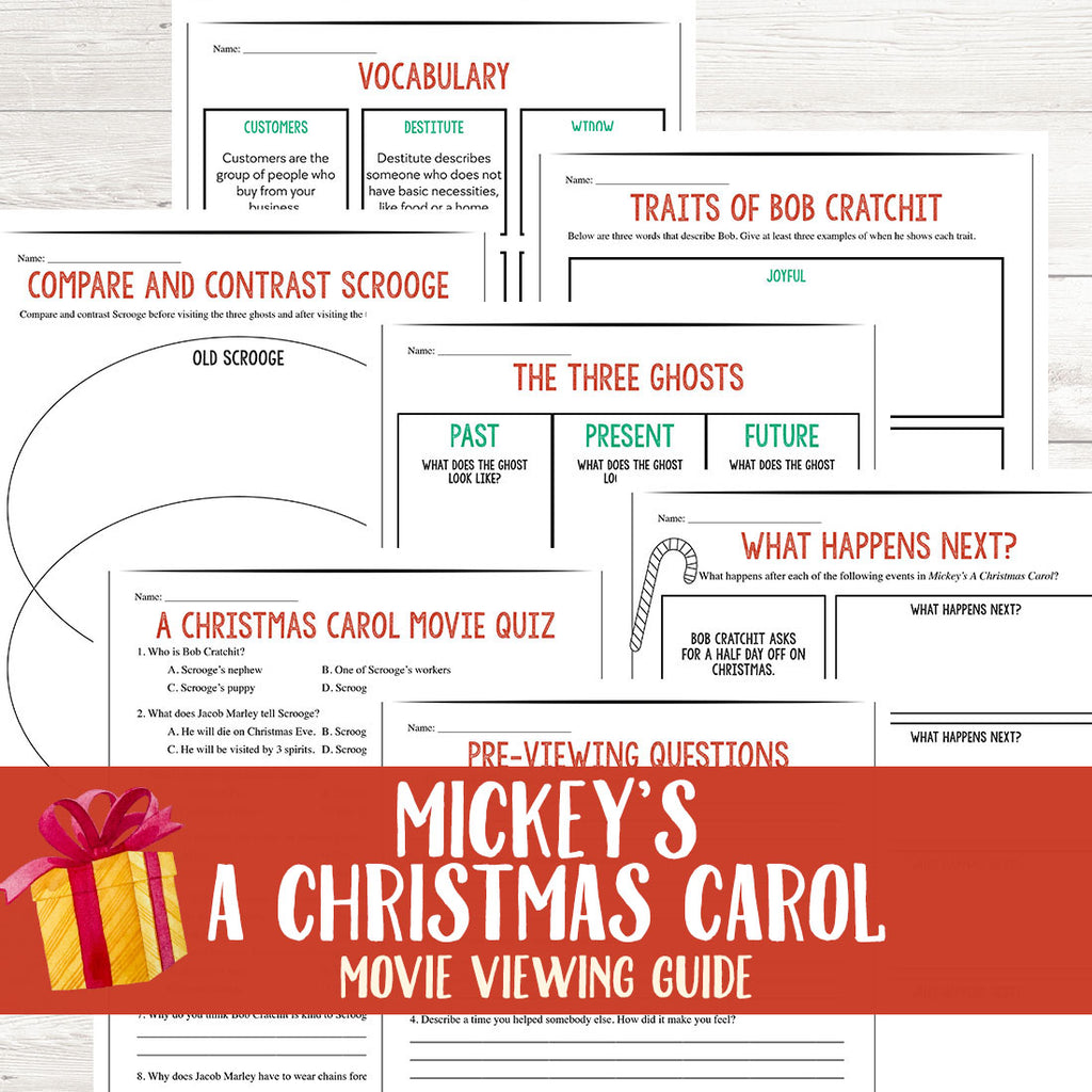 Mickey's A Christmas Carol Movie Guide  <h5><b>Grades:</b> 3-5 </h5>